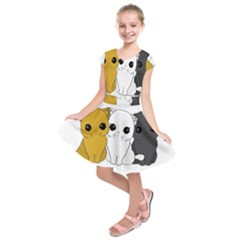 Cute Cats Kids  Short Sleeve Dress