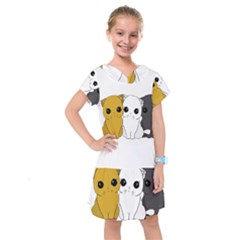 Cute Cats Kids  Drop Waist Dress