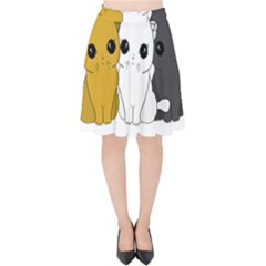 Cute Cats Velvet High Waist Skirt