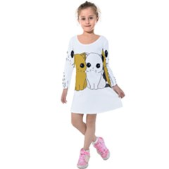 Cute Cats Kids  Long Sleeve Velvet Dress