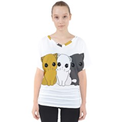 Cute Cats V Neck Dolman Drape Top