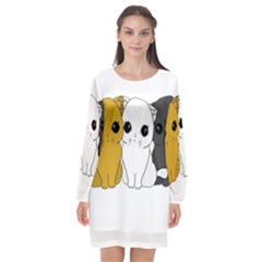 Cute Cats Long Sleeve Chiffon Shift Dress