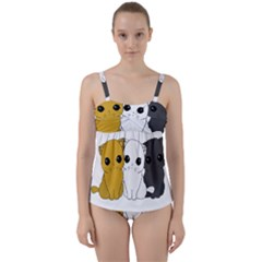 Cute Cats Twist Front Tankini Set