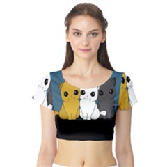 Cute Cats Short Sleeve Crop Top (tight Fit)