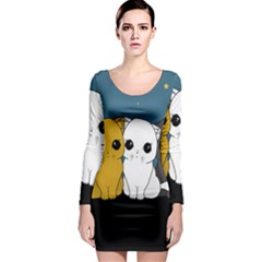Cute Cats Long Sleeve Bodycon Dress