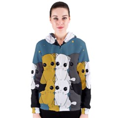 Cute Cats Women s Zipper Hoodie