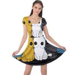 Cute Cats Cap Sleeve Dress