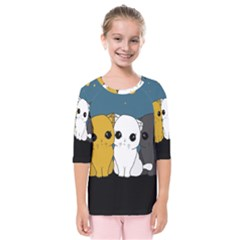 Cute Cats Kids  Quarter Sleeve Raglan Tee