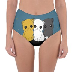 Cute Cats Reversible High Waist Bikini Bottoms