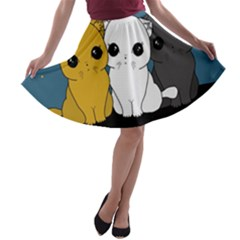 Cute Cats A Line Skater Skirt