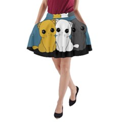 Cute Cats A Line Pocket Skirt