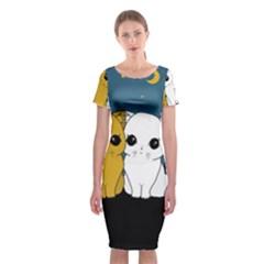Cute Cats Classic Short Sleeve Midi Dress