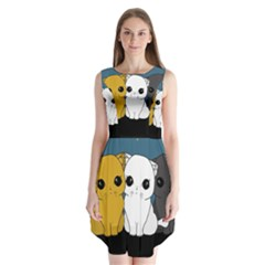 Cute Cats Sleeveless Chiffon Dress