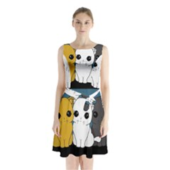 Cute Cats Sleeveless Waist Tie Chiffon Dress