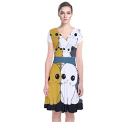 Cute Cats Short Sleeve Front Wrap Dress