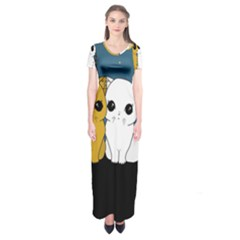Cute Cats Short Sleeve Maxi Dress