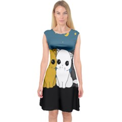 Cute Cats Capsleeve Midi Dress