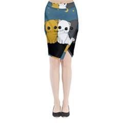 Cute Cats Midi Wrap Pencil Skirt