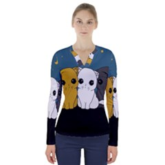 Cute Cats V Neck Long Sleeve Top