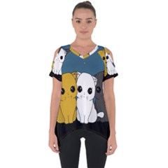 Cute Cats Cut Out Side Drop Tee