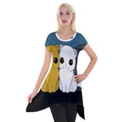 Cute Cats Short Sleeve Side Drop Tunic
