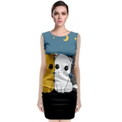 Cute Cats Sleeveless Velvet Midi Dress