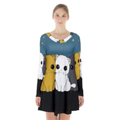 Cute Cats Long Sleeve Velvet V Neck Dress