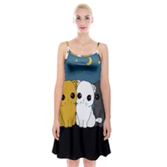 Cute Cats Spaghetti Strap Velvet Dress
