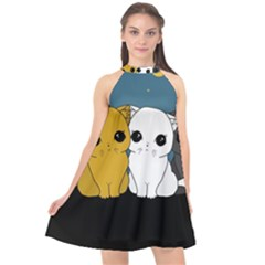 Cute Cats Halter Neckline Chiffon Dress