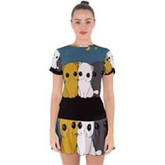 Cute Cats Drop Hem Mini Chiffon Dress