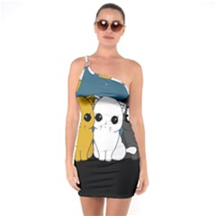 Cute Cats One Soulder Bodycon Dress