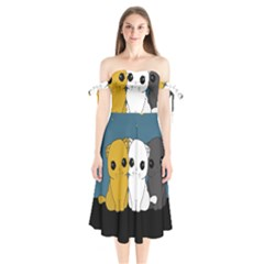 Cute Cats Shoulder Tie Bardot Midi Dress