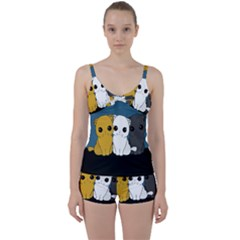 Cute Cats Tie Front Two Piece Tankini