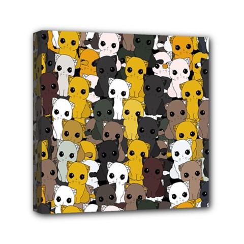 Cute Cats Pattern Mini Canvas 6  X 6