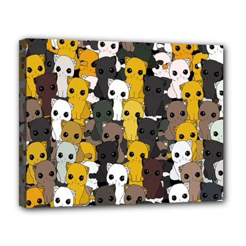 Cute Cats Pattern Canvas 14  X 11