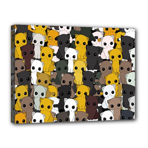 Cute Cats Pattern Canvas 16  X 12