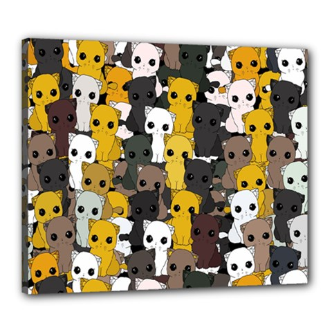 Cute Cats Pattern Canvas 24  X 20