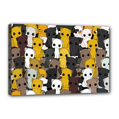 Cute Cats Pattern Canvas 18  X 12