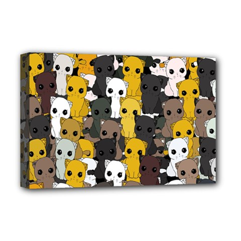 Cute Cats Pattern Deluxe Canvas 18  X 12