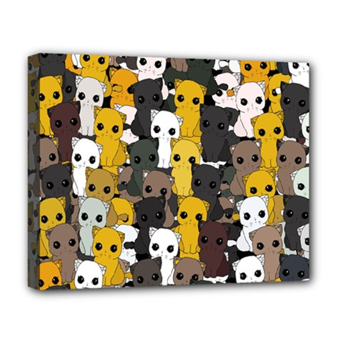 Cute Cats Pattern Deluxe Canvas 20  X 16