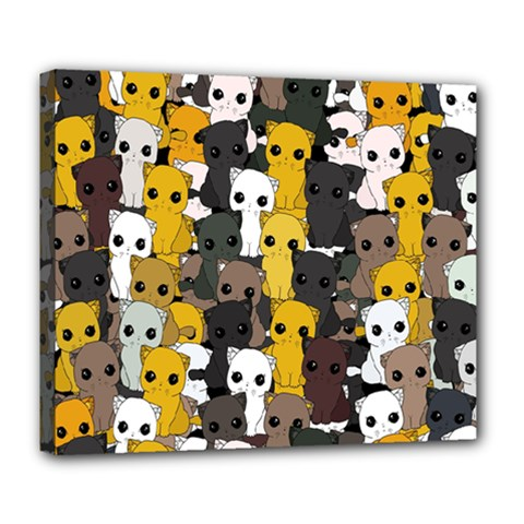 Cute Cats Pattern Deluxe Canvas 24  X 20