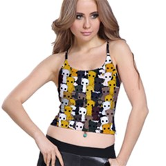 Cute Cats Pattern Spaghetti Strap Bra Top