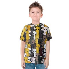 Cute Cats Pattern Kids  Cotton Tee
