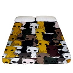 Cute Cats Pattern Fitted Sheet (queen Size)