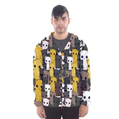 Cute Cats Pattern Hooded Wind Breaker (men)
