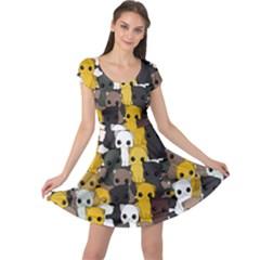 Cute Cats Pattern Cap Sleeve Dress