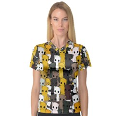 Cute Cats Pattern V Neck Sport Mesh Tee