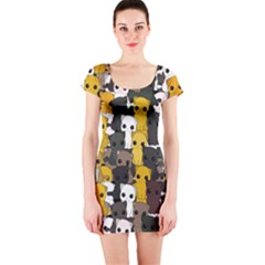 Cute Cats Pattern Short Sleeve Bodycon Dress