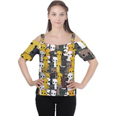 Cute Cats Pattern Cutout Shoulder Tee