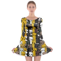 Cute Cats Pattern Long Sleeve Skater Dress